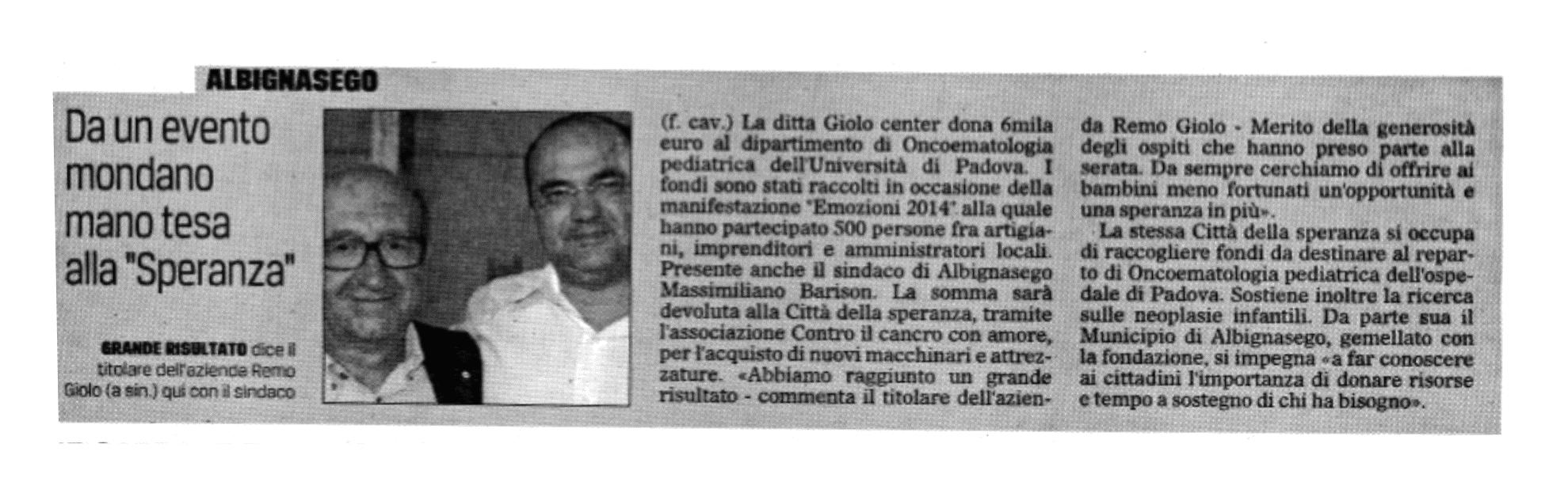 Articolo Gazzettino_Emozioni 2014