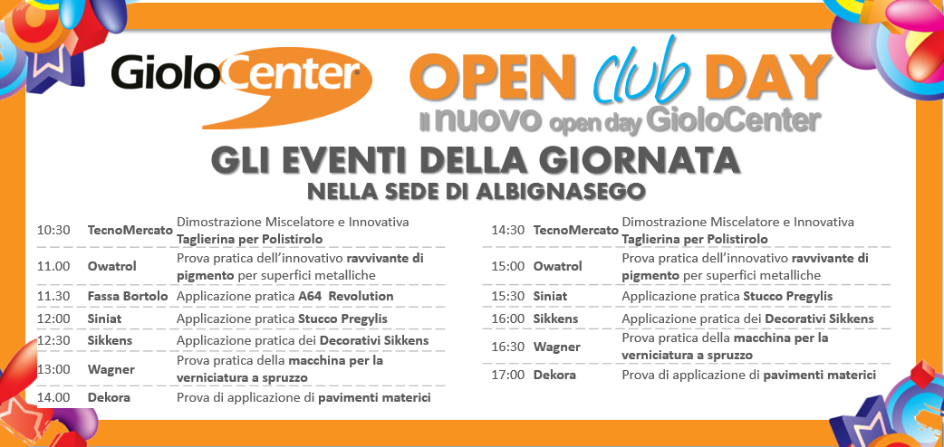 Open Club Day Il Nuovo Open Day Giolocenter News Giolocenter